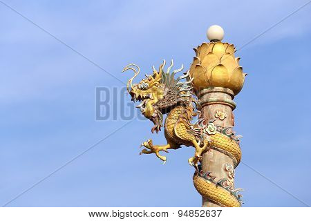 Golden Dragon Statue On Pole