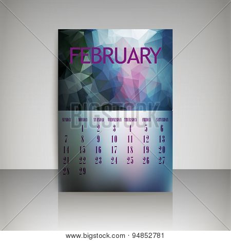 Geometrical Polygonal Triangles And Blurred Backgrounds 2016 Calendar Design For February Vector Eps