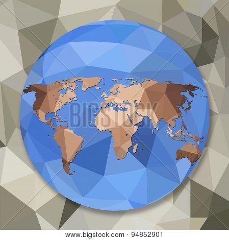 World Globe Map In Polygonal Style