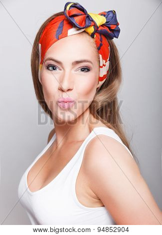 Beautiful Woman Blowing A Kiss