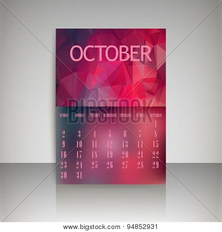 Geometrical Polygonal Triangles And Blurred Backgrounds 2016 Calendar Design For October Vector Eps1