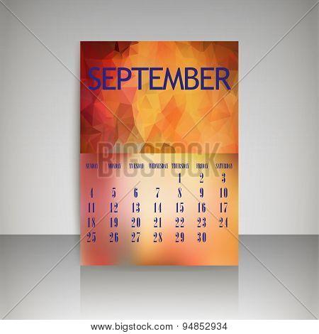 Geometrical Polygonal Triangles And Blurred Backgrounds 2016 Calendar Design For September Vector Ep