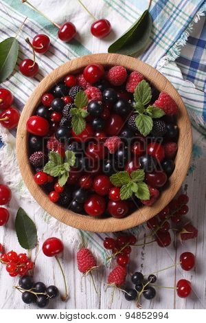 Salad Of Cherry, Raspberry, Currant And Blackberry Vertical Top View