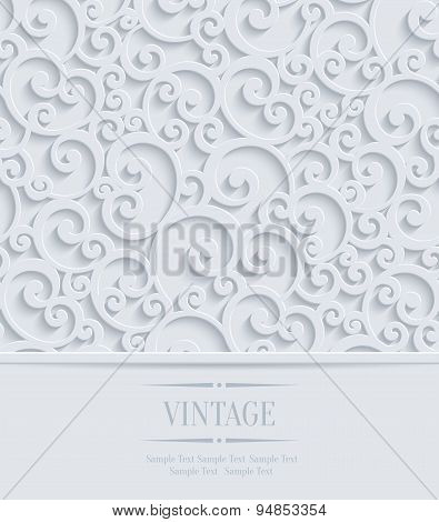 Vector 3D Vintage Invitation Card With Floral Swirl Pattern