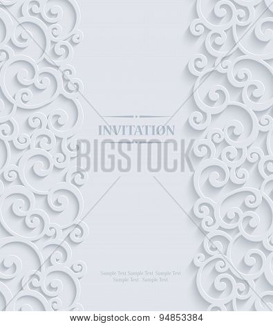 Vector 3D Vintage Invitation Card With Floral Damask Pattern