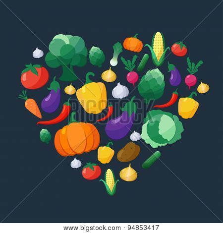 Vector Vegetables Flat Style Icons Set In Heart Shape Over Dark Background