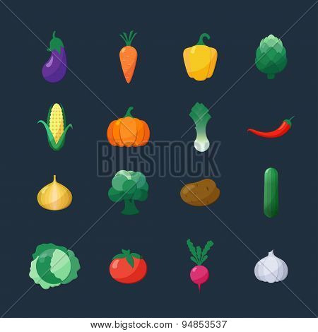 Vector Icons Vegetables Flat Style Set Isolated Over Dark Background