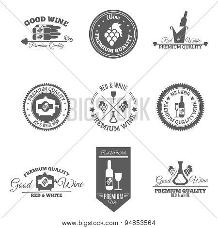 Wine Flat Labels Set