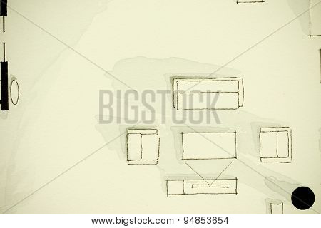 Black and white watercolor artistic architectural floor plan illustrative design sketch painting