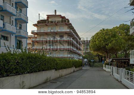 Lido di Jesolo street to sea beach, Adriatic sea, venetian Riviera