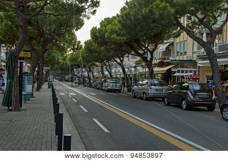 Lido di Jesolo street at dusk, Adriatic sea, venetian Riviera