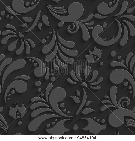 Vector Black 3d Floral Seamless Pattern