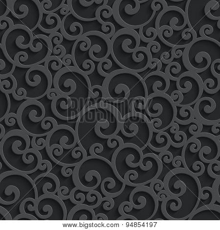 Vector Black 3d Swirl Seamless Pattern