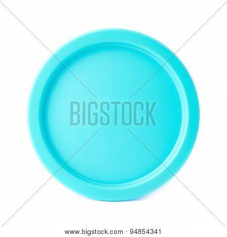 Blue round plastic cap isolated