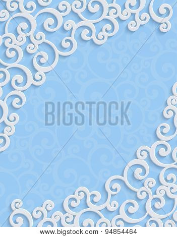 Vector Blue 3d Vintage Invitation Card with Floral Damask Pattern