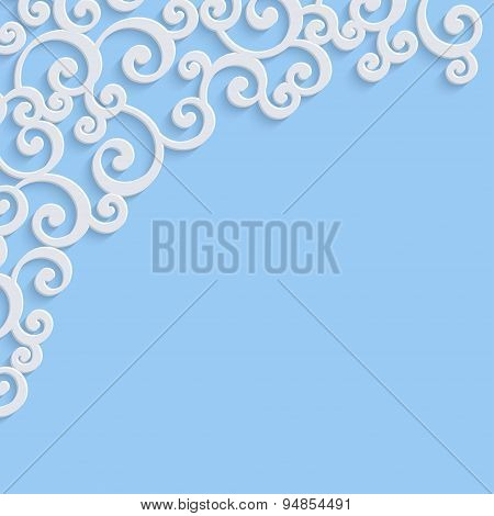Vector Blue 3d Vintage Invitation Card with Swirl Damask Pattern