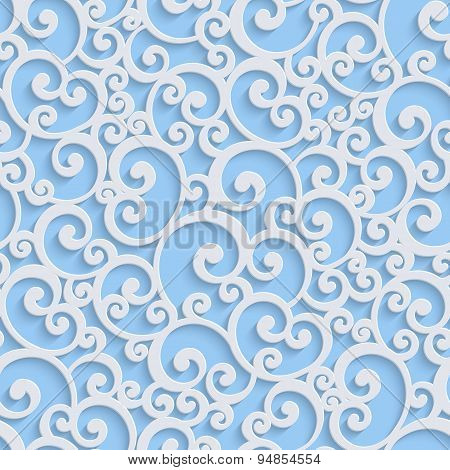 Blue Vector 3d Floral Damask Seamless Pattern