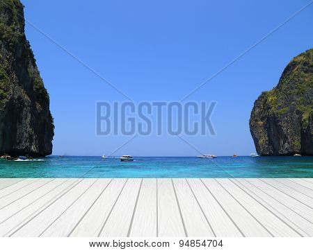White Wood Terrace With Maya Bay