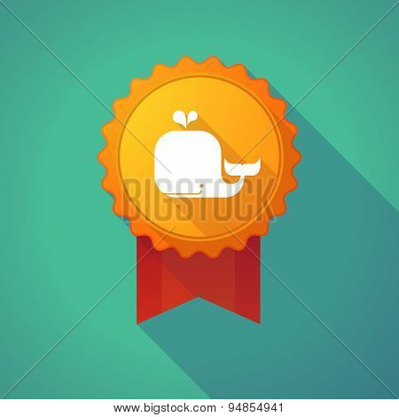 Long Shadow Badge Icon With A Whale