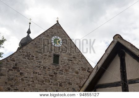Clock On The Wall Of A Church