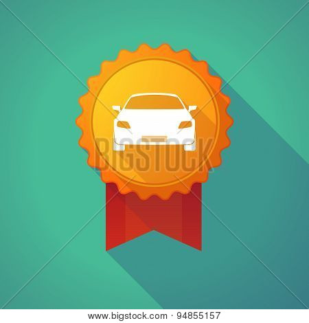 Long Shadow Badge Icon With A Car