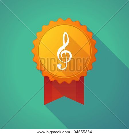 Long Shadow Badge Icon With A G Clef