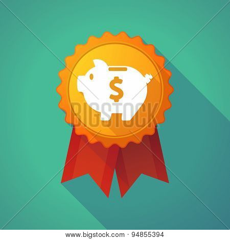 Long Shadow Badge Icon With A Piggy Bank