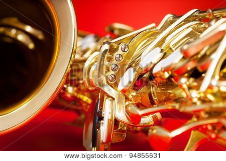 Close-up detailed view of saxophone with bell
