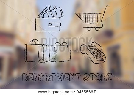 Department Store: Wallet With Money, Cart, Bags And Payment Terminal