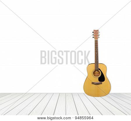 Guitar With White Wood Floor