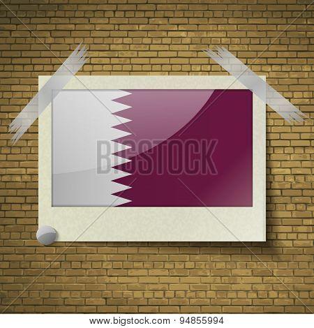 Flags Qatarat Frame On A Brick Background. Vector