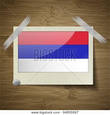 Flags Republika Srpska At Frame On Wooden Texture. Vector