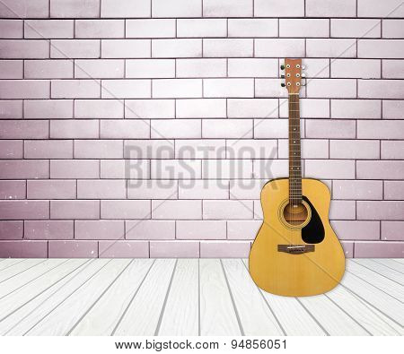 Guitar In Blank Empty Room
