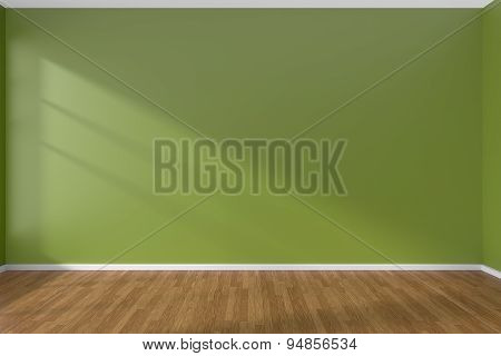 Green Empty Room With Parquet Floor
