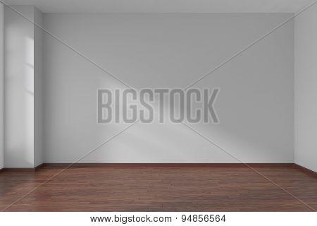 White Empty Room With Dark Parquet Floor
