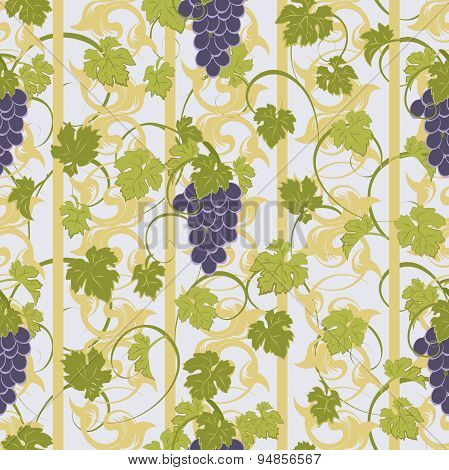 Vector Repeating Pattern With Grape Clusters In Vintage Style.