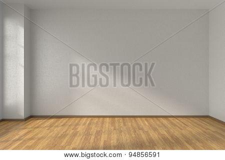 White Empty Room With Parquet Floor