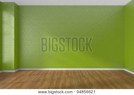 Green Empty Room With Dark Parquet Floor