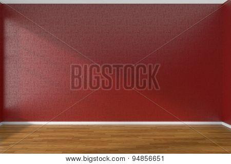 Red Empty Room With Dark Parquet Floor