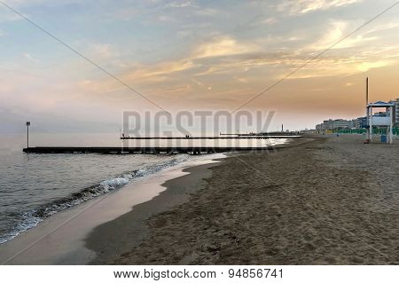 Sunset at beach of Lido di Jesolo, venetian Riviera