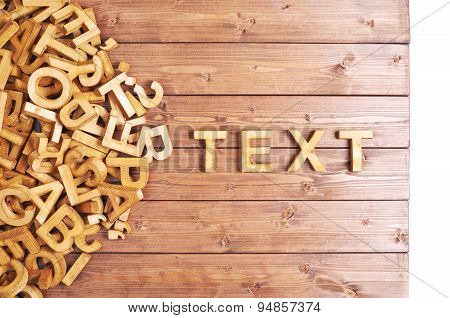 Word text made with wooden letters