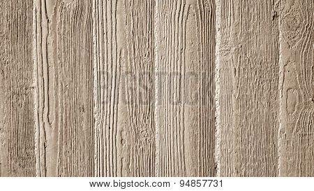 Gray Concrete Wall With Wooden Relief Embossing