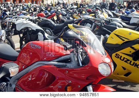 Parked motorbikes in a festival
