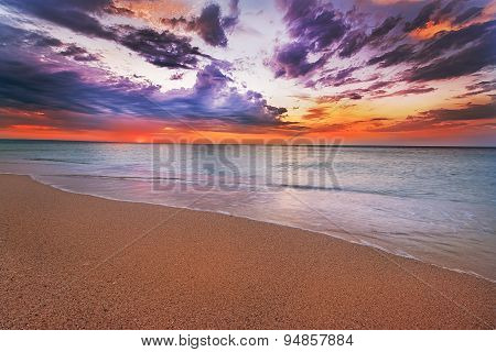 Sunset And Beach