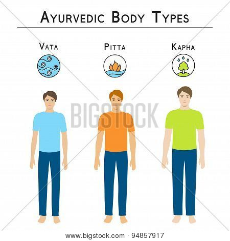 Ayurvedic body types: vata, pitta, kapha.