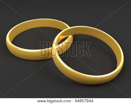 Illustration Of Two Wedding Gold Rings