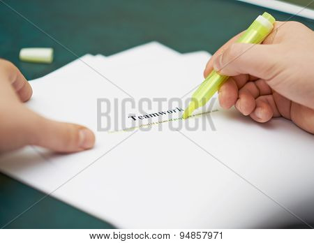 Marking words in a teamwork definition