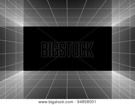 Abstract Interior In Room With Blank Wall