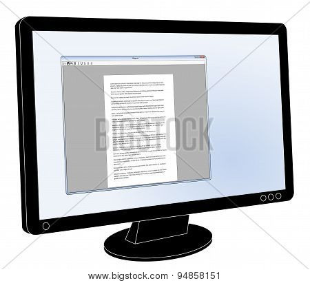 LCD flat screen monitor with generic word processor open