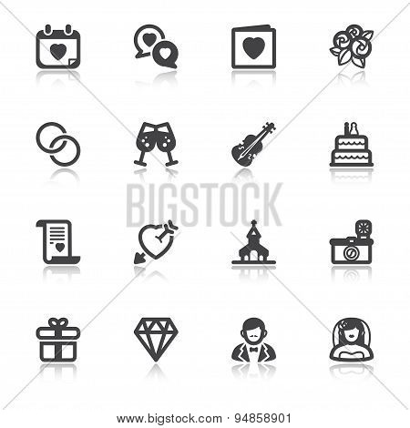 Wedding Flat Icons With Reflection